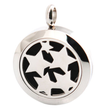 Five Star 25mm Aromatherapy Essential Oils Stainless Steel Neckalce Pendant Perfume Diffuser Locket free 10pcs Pads
