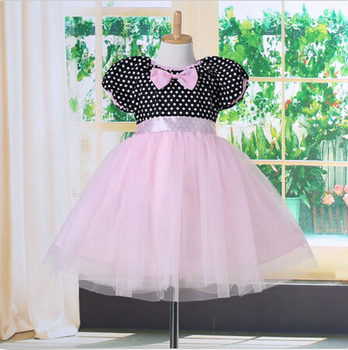 Polka Dot Girl Dress Kids Pageant Prom Party Princess Ball Gown Elegant Dress