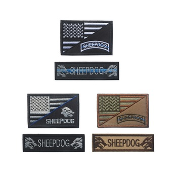 100set/lot 2 piece a set 3D Embroidery armband Loop And Hook American flag patch SHEEPDOG patch Shepherd suit